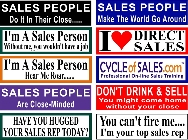 Combo Pack Bumper Stickers For Sales People