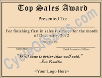 Top Sales Certificate