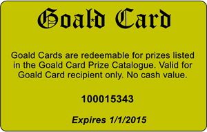 Picture of Goald Card Motivaional Program back of card